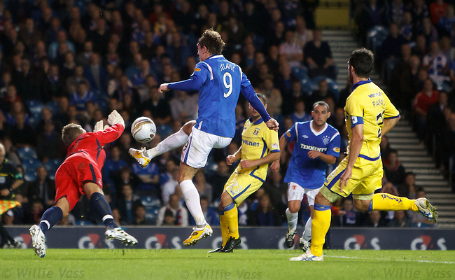 Cammy Bell saves at the feet of Nikica Jelavic