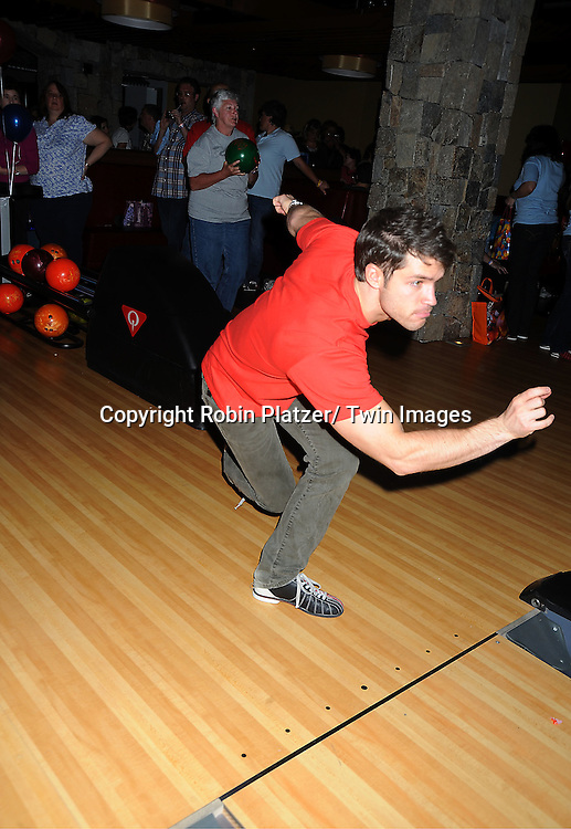 David Gregory bowls at the Daytime Stars and Strikes Charity Bowling Event benefitting the American Cancer Society on ..October 9, 2011 at Bowlmor Lanes in Times Square.