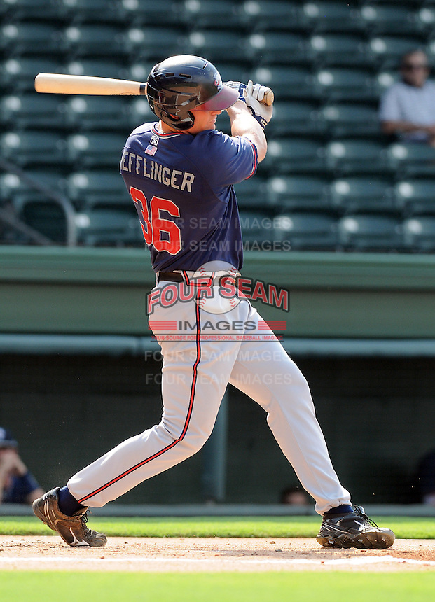 Infielder Robby Hefflinger (36) of the Rome Braves, an Atlanta Braves affiliate, in a game against the Greenville Drive on July 6, 2012, at Fluor Field at the West End in Greenville, South Carolina. Greenville won, 4-0. (Tom Priddy/Four Seam Images)