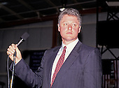 "Governor Bill Clinton (Democrat of Arkansas) speaks at a rally at Hesser Business College in Manchester, New Hampshire on February 17, 1992.  The Clintons were campaigning in advance of New Hampshire's ""First in the Nation"" presidential primary.<br /> Credit: Ron Sachs / CNP"
