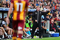 Bradford City manager Stuart McCall shouts orders to his players during the pre season friendly match between Bradford City and Newcastle United at the Northern Commercial Stadium, Bradford, England on 26 July 2017. Photo by Thomas Gadd.