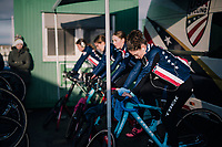 Team USA warming up for the Women&rsquo;s U23 race<br /> <br /> UCI 2019 Cyclocross World Championships<br /> Bogense / Denmark<br /> <br /> &copy;kramon