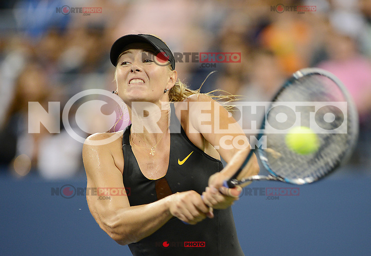 FLUSHING NY- SEPTEMBER 2: Maria Sharapova Vs Nadia Petrova on Arthur Ashe stadium at the USTA Billie Jean King National Tennis Center on September 2, 2012 in in Flushing Queens. Credit: mpi04/MediaPunch Inc. ***NO NY NEWSPAPERS*** /NortePhoto.com<br />