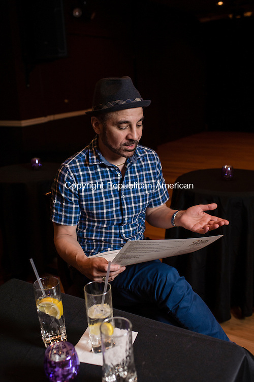 WATERBURY, CT- 31 May 2016-053116EC08-  Joshua Michael Angelus talks about the new menu at 92 Bank, a restaurant and bar in downtown Waterbury. The two-level space is also a cabaret and performance space upstairs, called Club 92. Erin Covey Republican-American