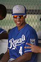Kansas City Royals shortstop Raul Mondesi (4) in the dugout during an Instructional League game against the Texas Rangers on October 9, 2013 at Surprise Stadium Training Complex in Surprise, Arizona.  (Mike Janes/Four Seam Images)