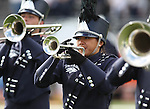 Members of the Wolf Pack Marching Band perform before an NCAA football game between New Mexico State and Nevada on Saturday, Oct. 15, 2011, in Reno, Nev. .Photo by Cathleen Allison