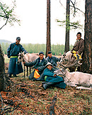 MONGOLIA, Khuvsgul National Park, group of men with reindeers at a farm near Khuvsgul Lake
