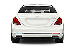 Straight rear view of 2017 Mercedes Benz S-Class Maybach 4 Door Sedan Rear View  stock images