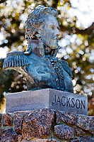 Florida's first governor, Andrew Jackson is honored in Pensacola's Plaza Ferdinand VII where he received Florida from Spain.<br /> COLIN HACKLEY PHOTO