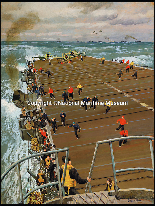 BNPS.co.uk (01202 558833)<br /> Pic: NationalMaritimeMuseum/BNPS<br /> <br /> ***Only To Be Used In Connection with Book***<br /> <br /> Clear Fight Deck: On Board an Aircraft Carrier, 1944.<br /> <br /> Poignant 'forgotten' works of art revealing the plight of those who fought at sea in the two world wars have come to light in the first ever book dedicated to the subject.<br /> <br /> Art and the War at Sea features dozens of unseen, 'lost' or little-known paintings and sketches showing the reality of life onboard naval and merchant ships in wartime.<br /> <br /> While countless books have been written about paintings created on Europe's Western Front during conflict, this is the first ever to focus on maritime and naval art from WWI and WWII.<br /> <br /> Art and the War at Sea: 1914-1945 is published by Lund Humphries and costs &pound;40.