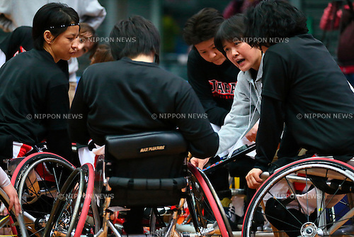 Japan Women's team group (Japan),<br /> FEBRUARY 14, 2015 - Wheelchair Basketball : <br /> 2015 International Women's Wheelchair Basketball Friendship Games OSAKA CUP<br /> Gold Medal Match between Japan 59-42 Great Britain<br /> at Osaka Municipal Central Gymnasiium in Osaka, Japan. <br /> (Photo by Shingo Ito/AFLO SPORT) [1195]