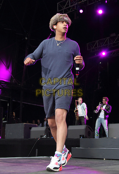 BIRMINGHAM, UNITED KINGDOM - AUGUST 30: Rizzle Kicks - Harley Alexander-Sule performs onstage during day 1 of Fusion Festival 2014 on August 30, 2014 in Birmingham, England.<br /> CAP/ROS<br /> &copy;Steve Ross/Capital Pictures