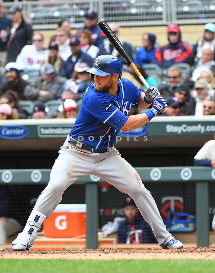 Kansas City Royals Alex Gordon (4) during a game against the Minnesota Twins on April 5, 2017 at Target Field in Minneapolis, MN. The Twins beat the Royals 9-1.