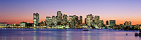 Boston harbor skyline night, Boston, MA