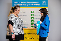 Friday 10 February 2017<br /> Pictured: ( L-R )  Heidi Bater talks to Promotion staff member Louisa <br /> Re:Welsh Government Dementia Risk Prevention Roadshow at the BT building, Swansea, Wales, UK