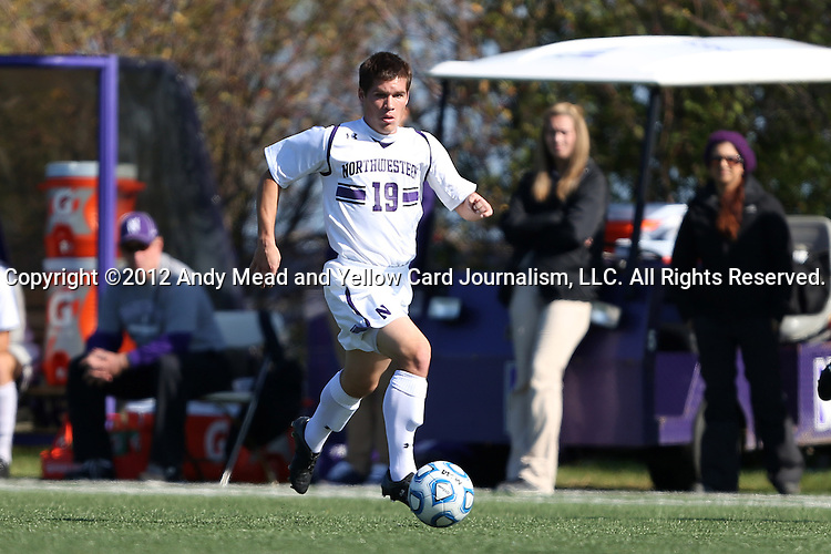 21 October 2012: Northwestern's Kyle Schickel. The Northwestern University Wildcats played the Penn State University Nittany Lions at Lakeside Field in Evanston, Illinois in a 2012 NCAA Division I Men's Soccer game. Penn State won the game 1-0 in golden goal overtime.
