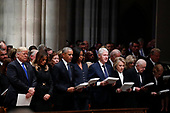 From left, President Donald Trump, first lady Melania Trump, former President Barack Obama, former first lady Michelle Obama, former President Bill Clinton, former Secretary of State Hillary Clinton, and former President Jimmy Carter and former first lady Rosalynn Carter participate in a State Funeral at the National Cathedral for former President George H.W. Bush, Wednesday, Dec. 5, 2018, in Washington. <br /> Credit: Alex Brandon / Pool via CNP