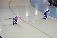 SCHAATSEN: GRONINGEN: Sportcentrum Kardinge, 17-01-2015, KPN NK Sprint, Janine Smit, Margot Boer, ©foto Martin de Jong