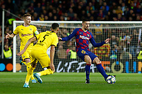 27th November 2019; Camp Nou, Barcelona, Catalonia, Spain; UEFA Champions League Football, Barcelona versus Borussia Dortmund;  Lenglet passwes wide as Hakimi of Dortmund comes in to challenge - Editorial Use