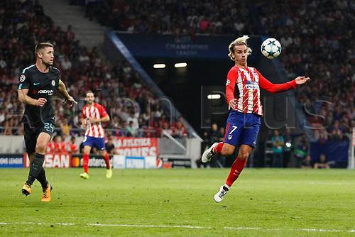 27th September 2017, Wanda Metropolitano, Madrid, Spain; UEFA Champions League, Atletico Madrid versus Chelsea; Antonie Griezmann (7) Atletico de Madrid brings down a high ball