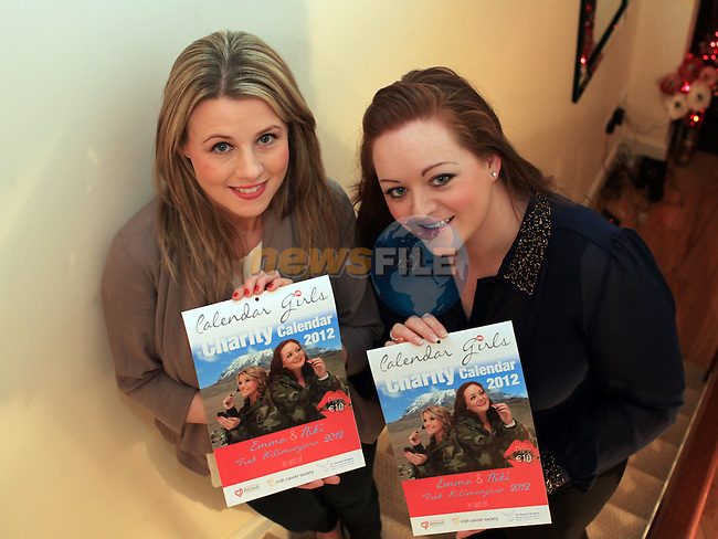 Emma Taaffe and Niki Stanford who are climbing Mount Killmanjaro for Charity with the calendar they produced to raise funds...(Photo credit should read Jenny Matthews www.newsfile.ie)....This Picture has been sent you under the conditions enclosed by:.Newsfile Ltd..The Studio,.Millmount Abbey,.Drogheda,.Co Meath..Ireland..Tel: +353(0)41-9871240.Fax: +353(0)41-9871260.GSM: +353(0)86-2500958.email: pictures@newsfile.ie.www.newsfile.ie.