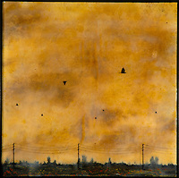 Mixed media encaustic painting of golden sunset sky by Jeff League.