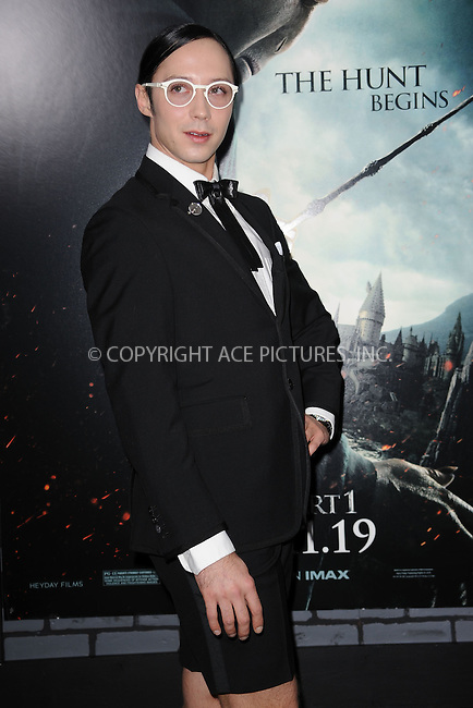 WWW.ACEPIXS.COM . . . . . .November 15, 2010...New York City...Johnny Weir attends the Premiere of Harry Potter And The Deathly Hallows: Part 1 at Alice Tully Hall on November 15, 2010 in New York City....Please byline: KRISTIN CALLAHAN - ACEPIXS.COM.. . . . . . ..Ace Pictures, Inc: ..tel: (212) 243 8787 or (646) 769 0430..e-mail: info@acepixs.com..web: http://www.acepixs.com .