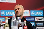 11.05.2019, BayArena, Leverkusen, GER, 1. FBL, Bayer 04 Leverkusen vs. FC Schalke 04 ,<br />  <br /> DFL regulations prohibit any use of photographs as image sequences and/or quasi-video<br /> <br /> im Bild / picture shows: <br /> Pressekonferenz (PK) nach dem Spiel,  Peter Bosz Trainer / Headcoach (Bayer 04 Leverkusen),<br /> <br /> Foto &copy; nordphoto / Meuter