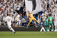 6th February 2020; Estadio Santiago Bernabeu, Madrid, Spain; Copa Del Rey Football, Real Madrid versus Real Sociedad; Goalkeeper Alphonse Areola (Real Madrid)  makes the save from a crossed ball in front of Alexader Isak and Mikel Merino of Sociedad