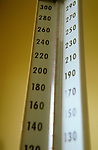 close-up of mercury rising on gauge on sphygmomanometer