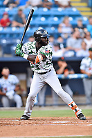 Augusta GreenJackets left fielder Jacob Heyward (10) awaits a pitch during a game against the Asheville Tourists at McCormick Field on July 16, 2017 in Asheville, North Carolina. The Tourists defeated the GreenJackets 12-3. (Tony Farlow/Four Seam Images)