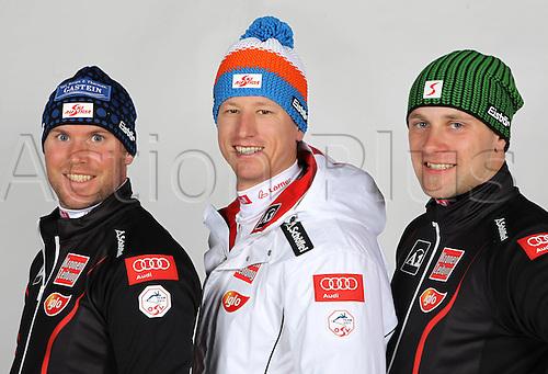 16.10.2010  Winter sports OSV Einkleidung Innsbruck Austria. Ski Alpine OSV Austrian Ski Federation. Picture shows Johann Grugger Hannes Reichelt and Romed Baumann AUT