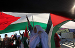 Palestinians take part in a rally ahead of the commemorations of the 67th anniversary of the ''Nakba'', at the Gaza seaport on May 7, 2015. ''Nakba'' means in Arabic ''catastrophe'' in reference to the birth of the state of Israel 67-years-ago in British-mandate Palestine, which led to the displacement of hundreds of thousands of Palestinians who either fled or were driven out of their homes during the 1948 war over Israel's creation. Photo by Ashraf Amra