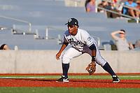 Cesar Carrasco #27 of the Hillsboro Hops during a game against the Spokane Indians at Hillsboro Ballpark on July 22, 2013 in Hillsboro Oregon. Spokane defeated Hillsboro, 11-3. (Larry Goren/Four Seam Images)