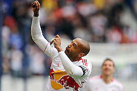 Thierry Henry (14) of the New York Red Bulls celebrates scoring. The New York Red Bulls defeated the Colorado Rapids 4-1 during a Major League Soccer (MLS) match at Red Bull Arena in Harrison, NJ, on March 25, 2012.