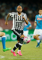 Juventus' Simone Zaza controls the ball during the  italian serie a soccer match against SSC Napoli,    at  the San  Paolo   stadium in Naples  Italy , September 26 , 2015