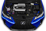 Car stock 2019 Lexus UX F-Sport  5 Door SUV engine high angle detail view