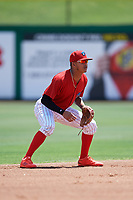Clearwater Threshers shortstop Arquimedes Gamboa (7) during a game against the Lakeland Flying Tigers on May 2, 2018 at Spectrum Field in Clearwater, Florida.  Clearwater defeated Lakeland 7-5.  (Mike Janes/Four Seam Images)