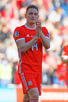 Connor Roberts of Wales thanks home supporters during the UEFA EURO 2020 Qualifier match between Wales and Slovakia at the Cardiff City Stadium, Cardiff, Wales, UK. Sunday 24 March 2019