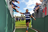 Kahn Fotuali'i of Bath Rugby of Bath Rugby celebrates the win with supporters. Aviva Premiership match, between Bath Rugby and Saracens on September 9, 2017 at the Recreation Ground in Bath, England. Photo by: Patrick Khachfe / Onside Images
