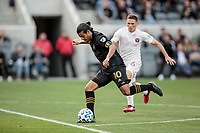 LOS ANGELES, CA - MARCH 01: Carlos Vela #10 of LAFC takes a shot during a game between Inter Miami CF and Los Angeles FC at Banc of California Stadium on March 01, 2020 in Los Angeles, California.