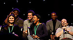 """One Life To Live Renee Elise Goldsberry who stars in Broadway's """"Hamilton - The Musical"""" with Lin-Manuel Miranda (2nd R) and cast Chris Jackson, Phillipa Soo, Okieriete Onadawan, Jonathan Groff, Leslie Odom, Jr., David Diggs (R) - all attending the first ever 3-day Broadway Con on January 22 - 24, 2016 at the Hilton Hotel, New York City, New York.  (Photo by Sue Coflin/Max Photos)"""
