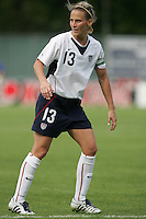10 July 2005:  Kristine Lilly of USA in action against Ukraine at Merlo Field at University of Portland in Portland, Oregon.    USA defeated Ukraine, 7-0.   Credit: Michael Pimentel / ISI