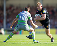 Exeter Chiefs' Sam Hill evades the tackle of Newcastle Falcons' Toby Flood<br /> <br /> Photographer Bob Bradford/CameraSport<br /> <br /> Aviva Premiership Play-Off Semi Final - Exeter Chiefs v Newcastle Falcons - Saturday 19th May 2018 - Sandy Park - Exeter<br /> <br /> World Copyright &copy; 2018 CameraSport. All rights reserved. 43 Linden Ave. Countesthorpe. Leicester. England. LE8 5PG - Tel: +44 (0) 116 277 4147 - admin@camerasport.com - www.camerasport.com