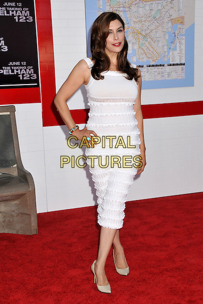 "JO CHAMPA .""The Taking of Pelham 123"" Los Angeles Premiere held at Mann's Village Theatre, Westwood, CA, USA..June 4th, 2009.full length white dress hand on hip frills .CAP/ADM/BP.©Byron Purvis/AdMedia/Capital Pictures."