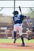 San Diego Padres outfielder Edward Olivares (82) at bat during an Instructional League game against the Milwaukee Brewers at Peoria Sports Complex on September 21, 2018 in Peoria, Arizona. (Zachary Lucy/Four Seam Images)