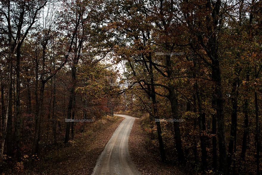 Ohio, Usa. Oktober 2016. En landevei innover i  Shawnee State Forest rett utenfor Portsmouth. Fotografier til dokument om valget i Usa og Appalachene. Foto: Christopher Olssøn