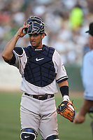 OAKLAND, CA - JUNE 11:  Jorge Posada of the New York Yankees plays defense at the catcher position during the game against the Oakland Athletics at the McAfee Coliseum in Oakland, California on June 11, 2008.  The Athletics defeated the Yankees 8-4.  Photo by Brad Mangin