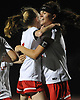 Nicole Hetzel #17, right, gets congratulated by Rachel Bergsohn #5 after she scored her second goal of the match late in the first half of the Nassau County varsity girls soccer Class B final final at Cold Spring Harbor High School on Friday, Nov. 3, 2017. Wheatley won by a score of 2-0.