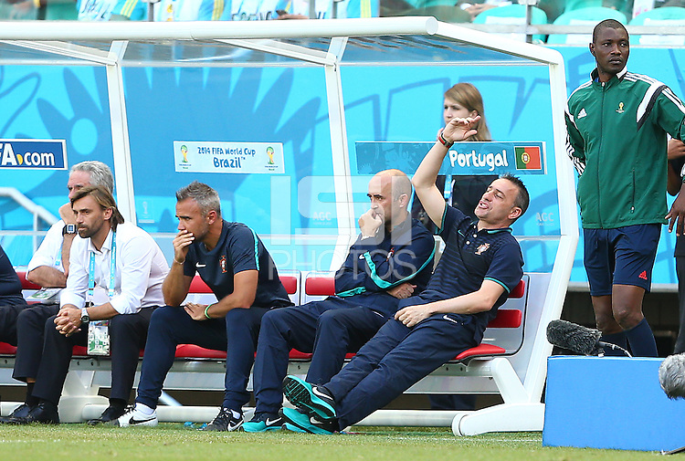 Portgual coach Paulo Bento shows a look of frustration in the dugout